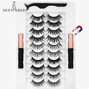 10 Pairs Magnetic Eyelashs set double Magnet Eyeliner Set Waterproof Long Lasting natural Mink False Eyelashes Eyelash Extension 1