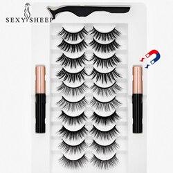 SEXYSHEEP 2/5/7/10 Pairs Magnetic Eyelashes Set Waterproof Magnet Eyeliner Long Lasting Natural Magnetic Lashes False Makeup