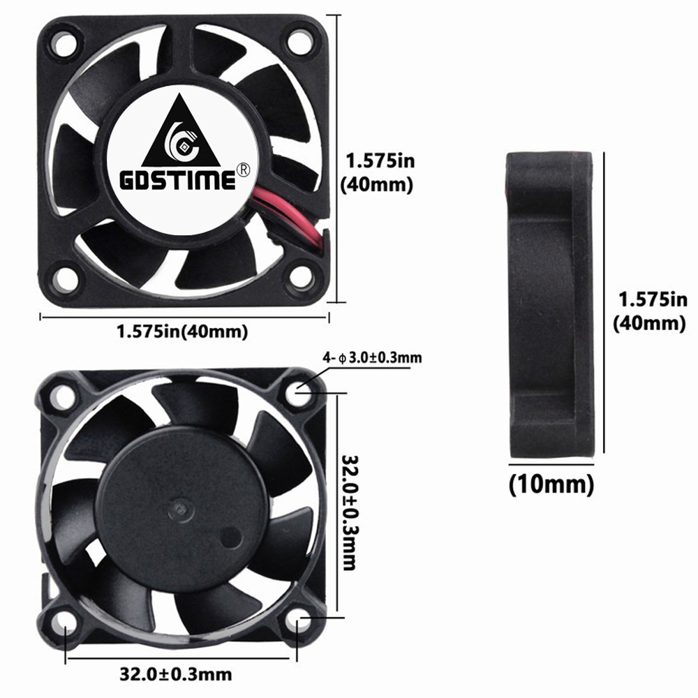 10pcs 12V 3Pin 40mm x 40mm x 10mm 4cm Brushless Cooling Fan Free Shipping