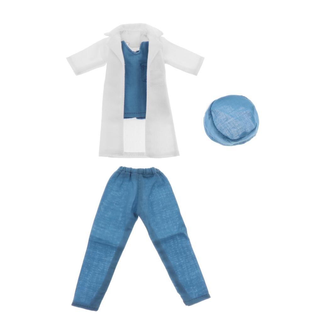 BJD – vêtements de médecin pour poupées, ensemble de vêtements Long + T-Shirt + pantalon + chapeau, 1/6