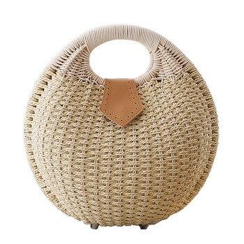 Summer Beach Bag Straw Bag Shell Shaped For Ladies Women's Fashion Handbags Handmade Bohemian Bali Rattan Handbags Women Purse 1