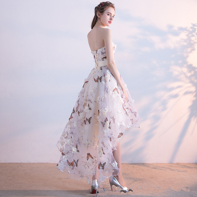 It's YiiYa Strapless Pleat Lace Up High-low Asymmetry Vintage Elegant Flowers Taffeta Prom Gown Dancing Party Prom Dresses LX018 2
