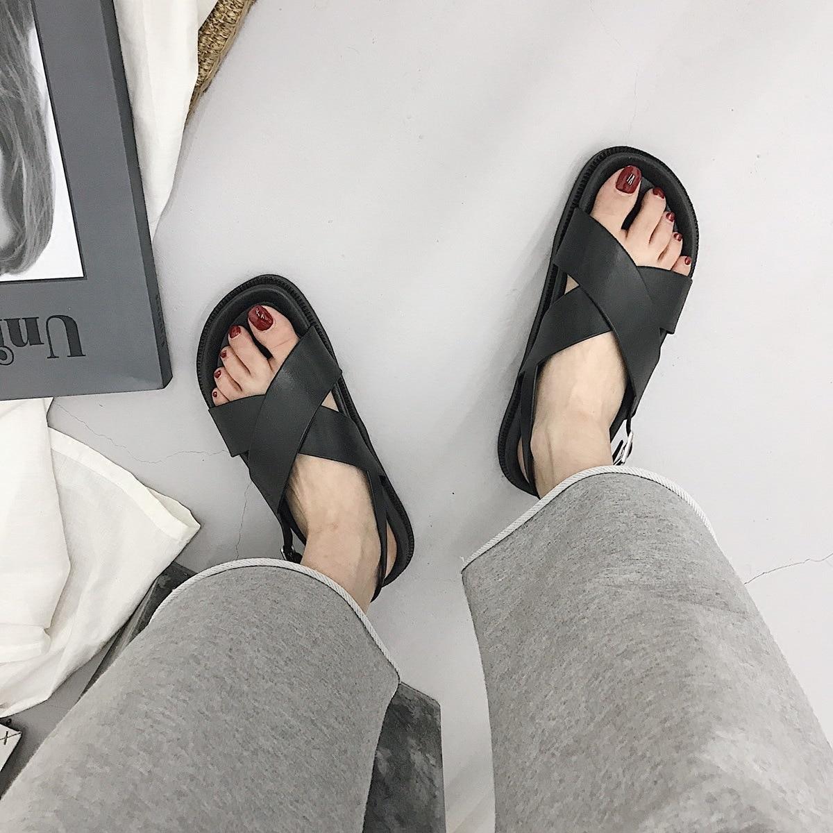 2021 Women's Sandals Wild Thick Bottom Slippers Cross Sandals Casual Wild College Wind Non slip Beach Sandals Women Summer Women's Sandals  - AliExpress