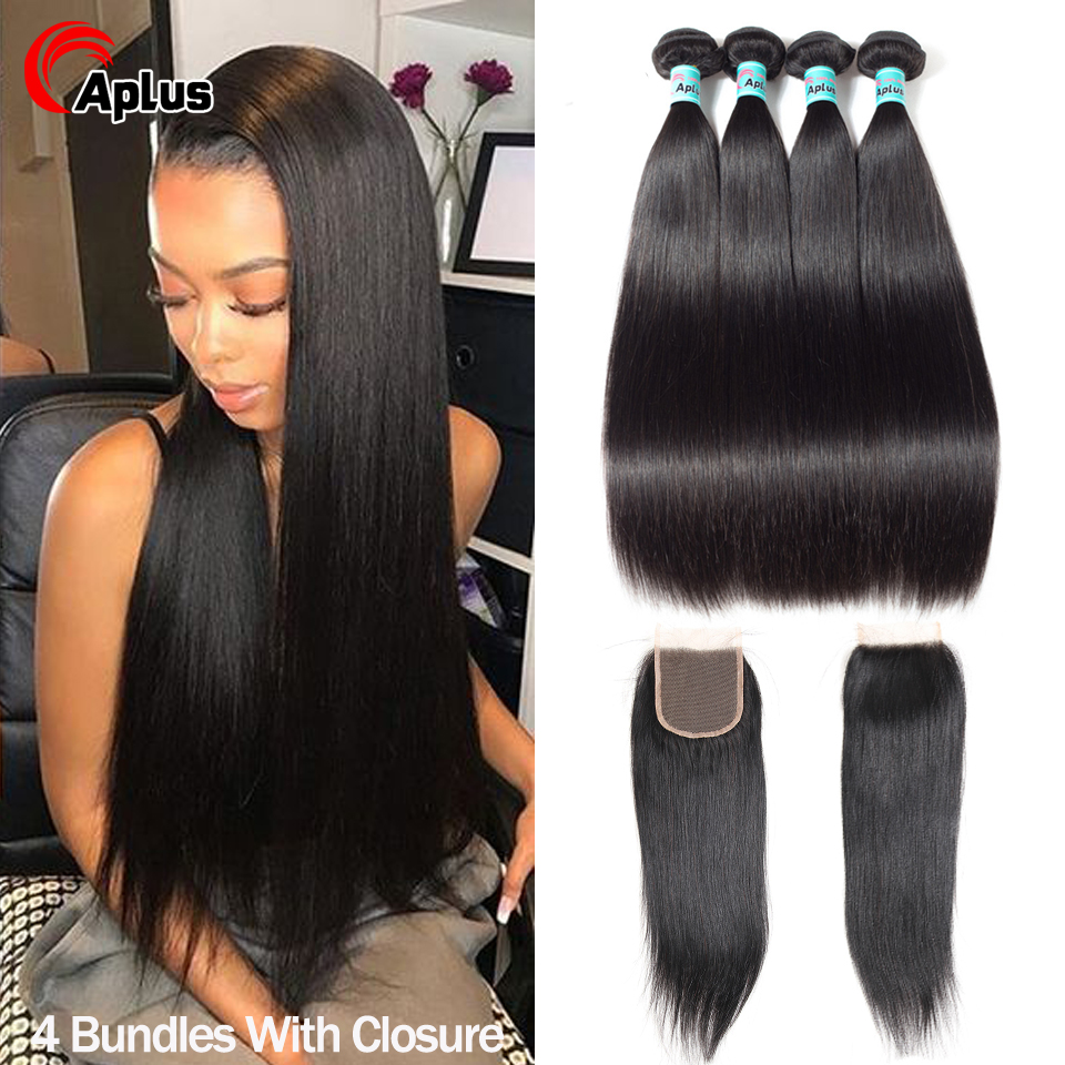Peruvian Straight Hair Bundles With Closure 4 Bundles With Closure Remy Human Hair Free/Middle/Three Part Hair Weaves For Women