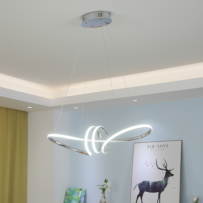Chrome Finished Minimalism DIY Hanging Modern Led Pendant Lights For Dining Room Bar Suspension Luminaire Suspendu Pendant Lamp