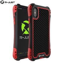 R-Just  Full Body Outdoor Case For iPhone XR XS Shockproof Metal Armor Phone Bumper Coque X Xs Max Gorilla Glass