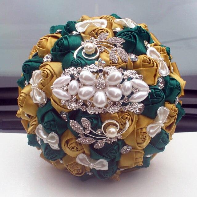 Wifelai Een Gouden Met Emerald Green Kunstmatige Rose Bruid Boeket Met Diamant Lint Bruiloft Boeket Bloemen Decoratie W2913