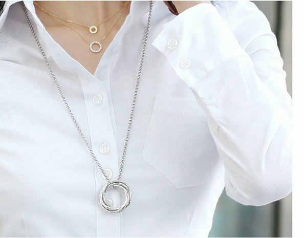 10XL 플러스 사이즈 여성 탑 봄 2020 한국어 화이트 블라우스 캐주얼 긴팔 숙녀 셔츠 블랙 블라우스 5XL 셔츠 숙녀 반바지