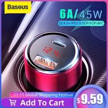 Baseus 45W Ricarica Rapida 4.0 3.0 USB Caricabatteria Da Auto per Xiaomi Mi Huawei Sovralimentare SCP QC4.0 QC3.0 Veloce PD USB C Auto Caricatore Del Telefono