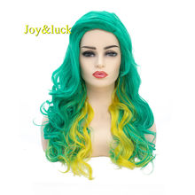 Joy&luck Long Natural Curly Synthetic Wigs for Women Green Mixed Yellow Color Cosplay Wigs(China)