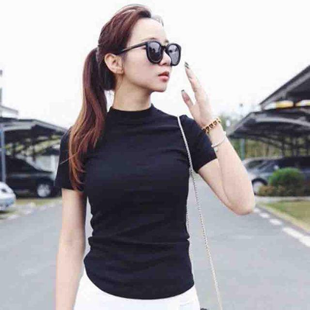 Women Solid Black T-Shirt Slim Short Sleeve T-Shirts Ladies Basic Tee Tops Turtleneck Summer Tshirt 2020 1