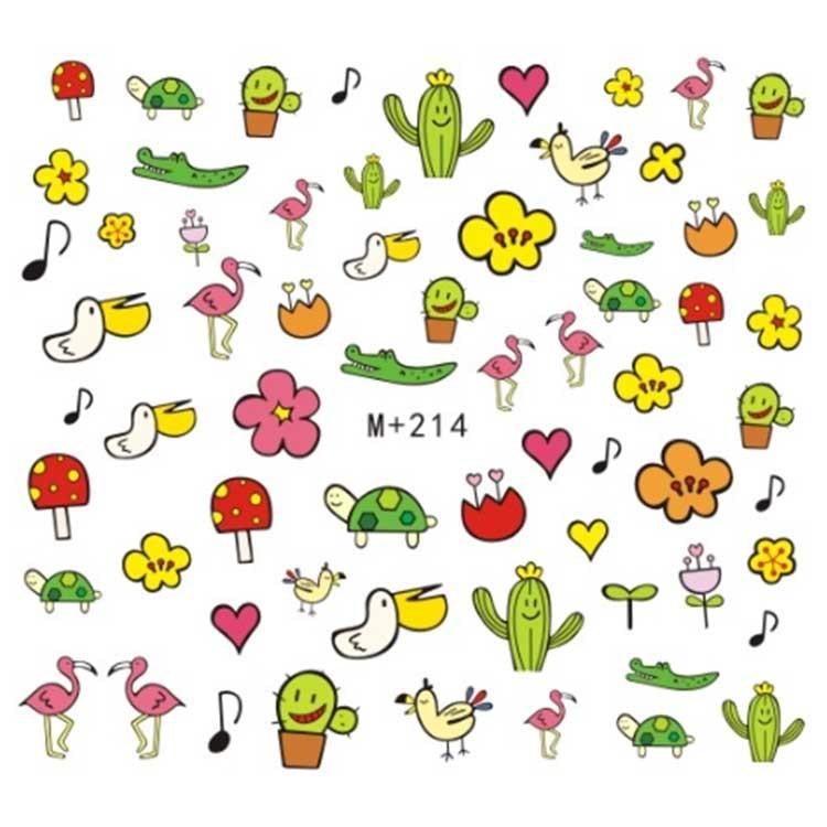 M + 214-233 New Style Japanese Korean Watermarking Adhesive Paper Cartoon Nail Sticker Nail Jewelry