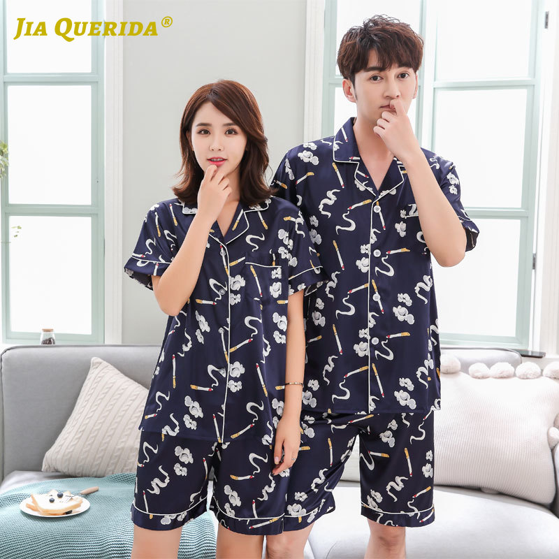 New Short Sleeve Short Pants Sleepwear Fashion Style Casual Style Turn Down Collar Homesuit Homeclothes Couple Men And Women