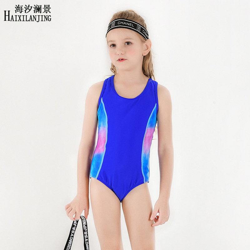 Hai Xi Lan Jing 2019 New Style KID'S Swimwear Girls Big Boy 4-12-Year-Old Profession Swimming Training Triangular One-piece