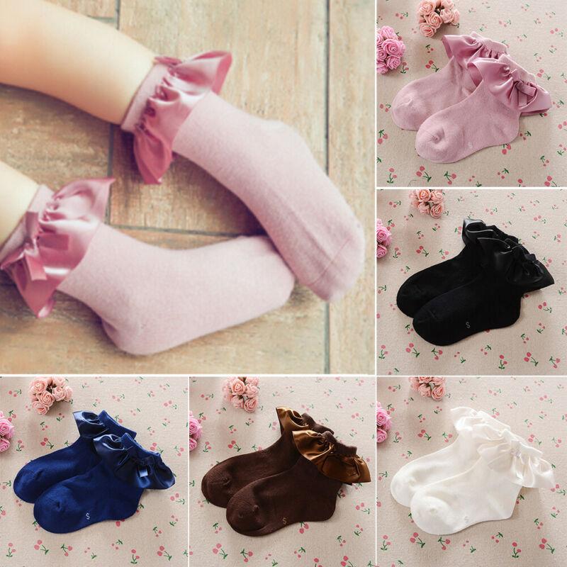Baby Girls Kids Socks Cotton Lace Breathable TUTU Socks Frilly Ankle Socks 2-8Y