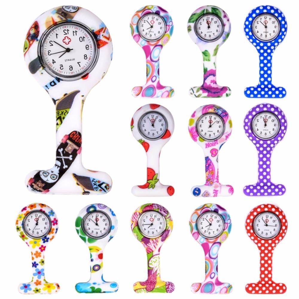 Модные Цветные силиконовые часы для медсестер, портативная брошь, карманные кварцевые часы, подвесной кулон с зажимом, подарок