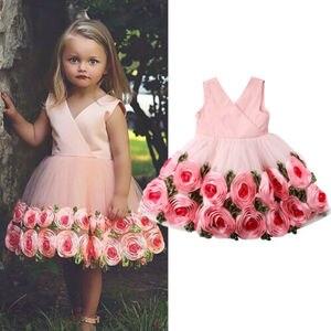 Нарядное платье принцессы с цветами для девочек, модный праздничный сарафан с v-образным вырезом и объемными розами, праздничная одежда для ...