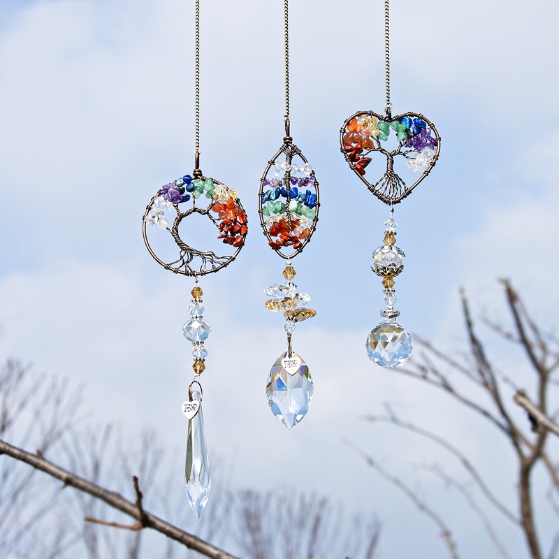 H&D Chakra Healing Stones Tree Of Life Suncatcher Rainbow Maker Window Hanging Ornament Housewarming Gift Collection Car Charms