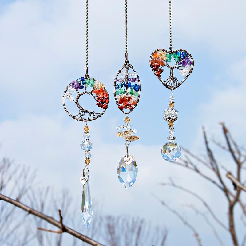 H&D Chakra Healing Stones Tree Of Life Suncatcher Rainbow Maker Window Hanging Ornament Housewarming Gift Collection Car Charms