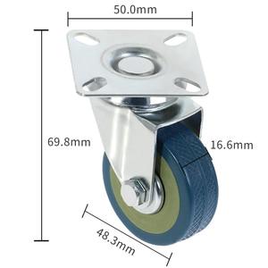 Image 2 - 4Pcs Set  Heavy Duty 50x17mm Rubber Swivel Castor Wheels Trolley Caster Brake 40KGModel:4 with brake HL 5