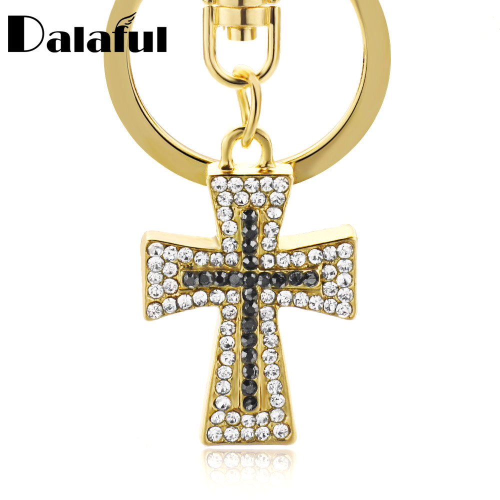 Dalaful Exquisite Crystal Cross Keyrings Keychains Chic Lucky Purse Bag Pendant For Car Women Key Chains Holder Rings K310