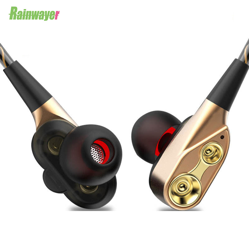 High Bass Headsets Sports Earphones Dual Drive Stereo In-Ear Wired Earphone With Microphone Computer Earbuds For Cell Phone