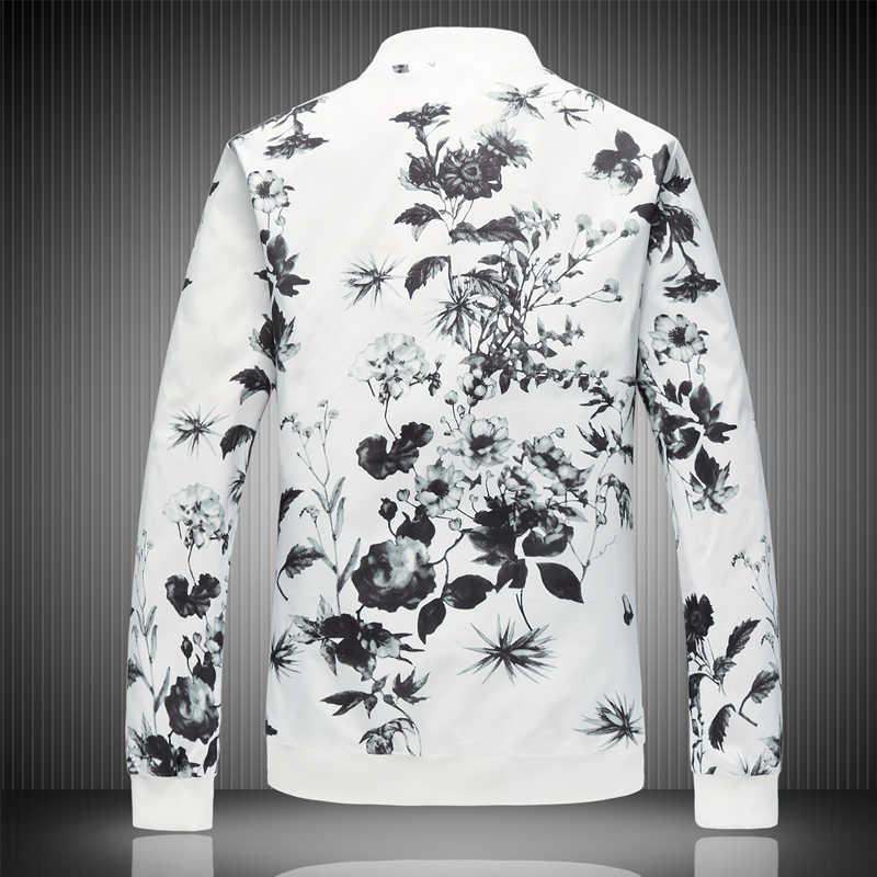2019 bahar erkek ceket baskılar, artı boyutu moda gençlik ceket, yaz erkek beyaz takım elbise ceket M-5XL 6XL