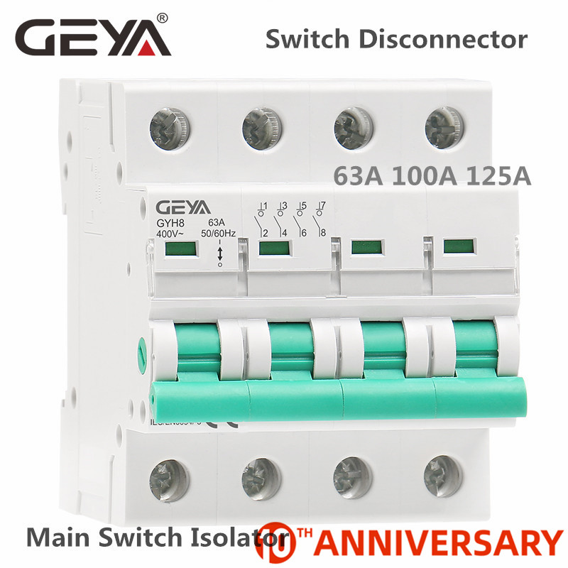 GEYA GYH8 Din Rail <font><b>4</b></font> Pole Isolating switch <font><b>400V</b></font> Main Switch 63A 100A 125A Isolator Breaker image