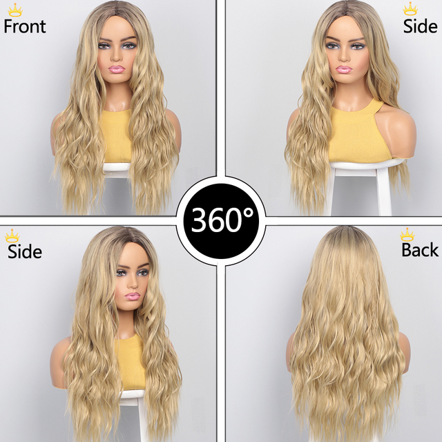 KooKaStyle Synthetic Wigs Long Wavy Wigs for Women Natural Part Side Wig Heat Resistant Party Hair Ombre Blonde Wigs Brizilan 3
