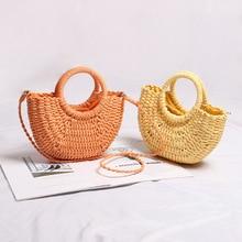 casual candy color rattan women handbags wicker woven lady shoulder crossbody bags