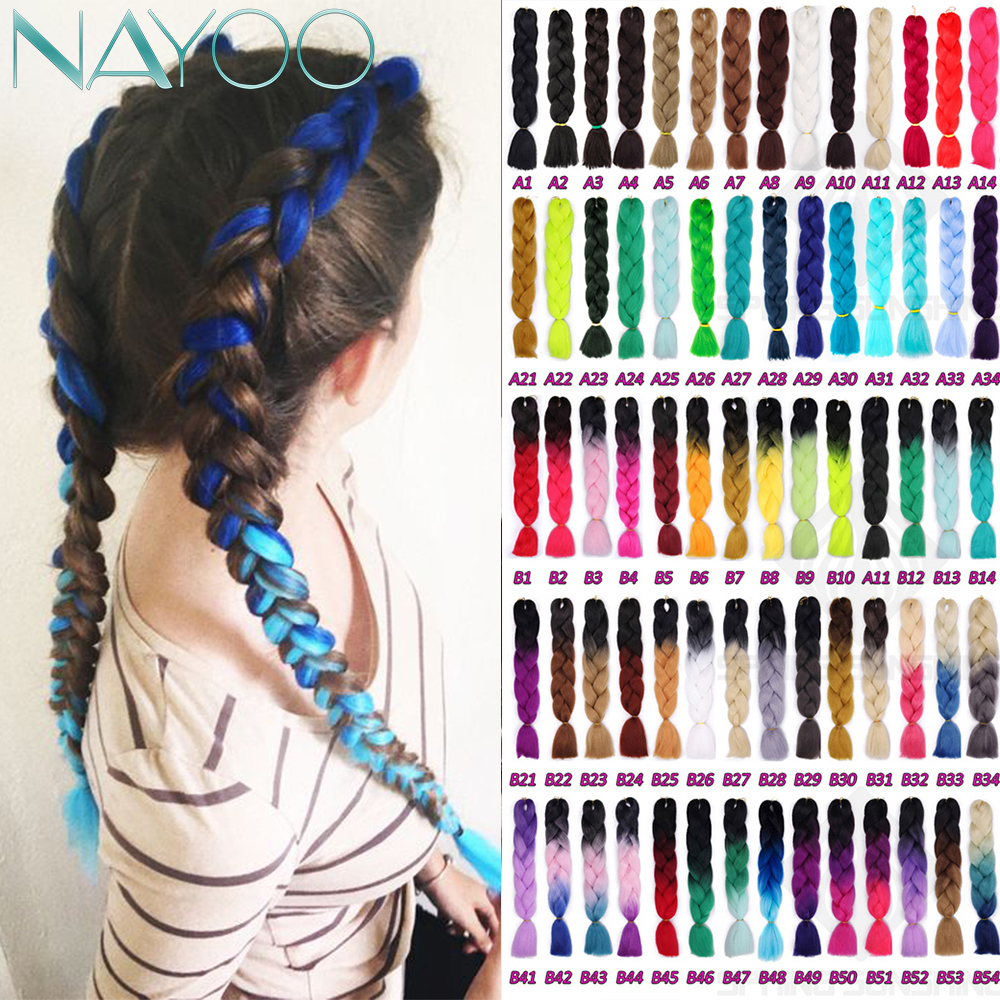 Nayoo Hair 24'' 100g/pc Synthetic Ombre Braiding Hair Extensions Purple Pink Black Crochet Braids Hairstyles Hair