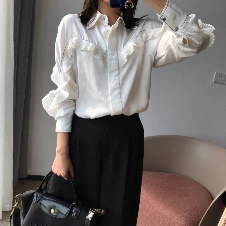 Women's Blouse Long-Sleeved Patchwork Turn-down Collar Pleated Temperament Lady Shirt