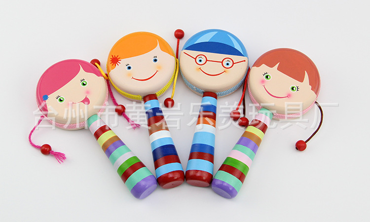 Wooden Hand-Painted Sheepskin Rattle Infant Shou Yao Gu Early Childhood Music Toy Double-Sided Rattle
