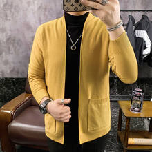 2020 Winter Men's New Knitwear Long Cashmere Cardigans Male Wool Sweaters Coats Clothes Slim Fit 4 Color Woollen Sweater M-3XL(China)