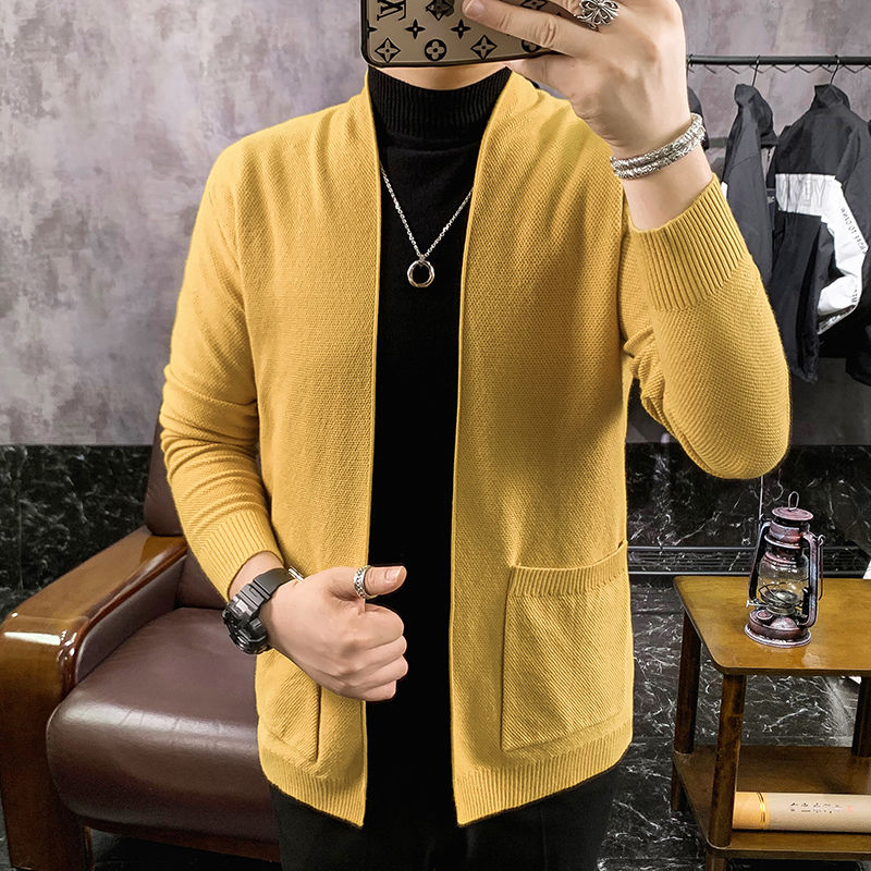 2020 Winter Men's New Knitwear Long Cashmere Cardigans Male Wool Sweaters Coats Clothes Slim Fit 4 Color Woollen Sweater M-3XL