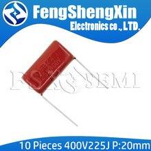 10 unids/lote 400V225J 2,2 UF paso 20M 225J400V 225 400V 2200PF CBB condensador de película de polipropileno