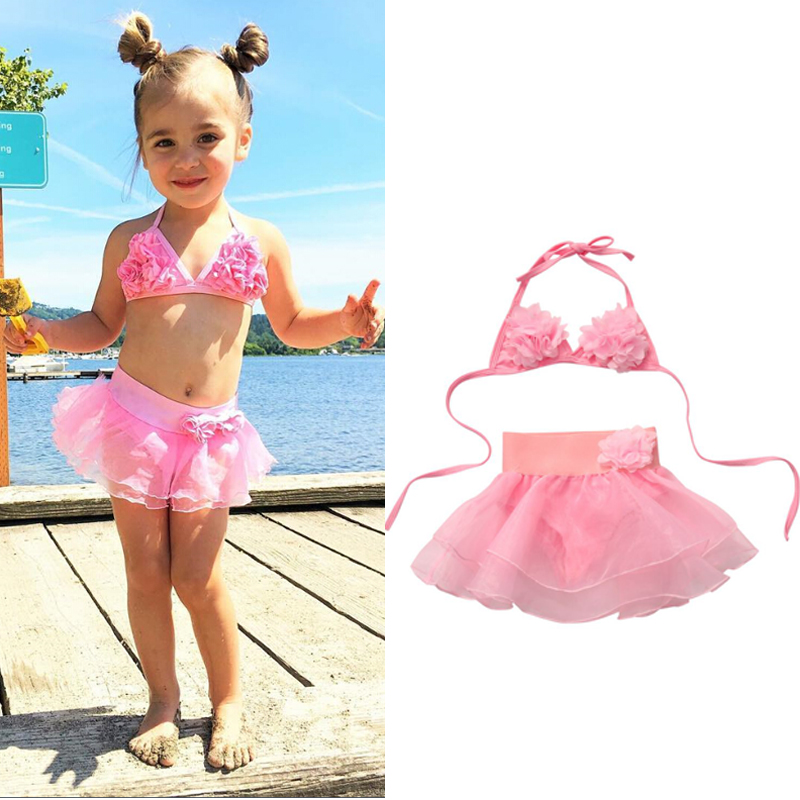 Summer Kids Baby Girl Tutu Skirt Bikini Set Floral Swimsuit Toddler Girls Bathing Suit Beachwear Swimwear 1-6Y