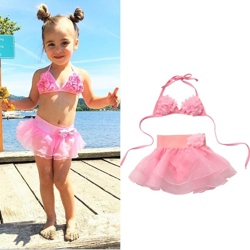 Summer Kids Baby Girl Tutu Skirt Bikini Set Floral Swimsuit Toddler Girls Bathing Suit Beachwear Swimwear 1-6Y