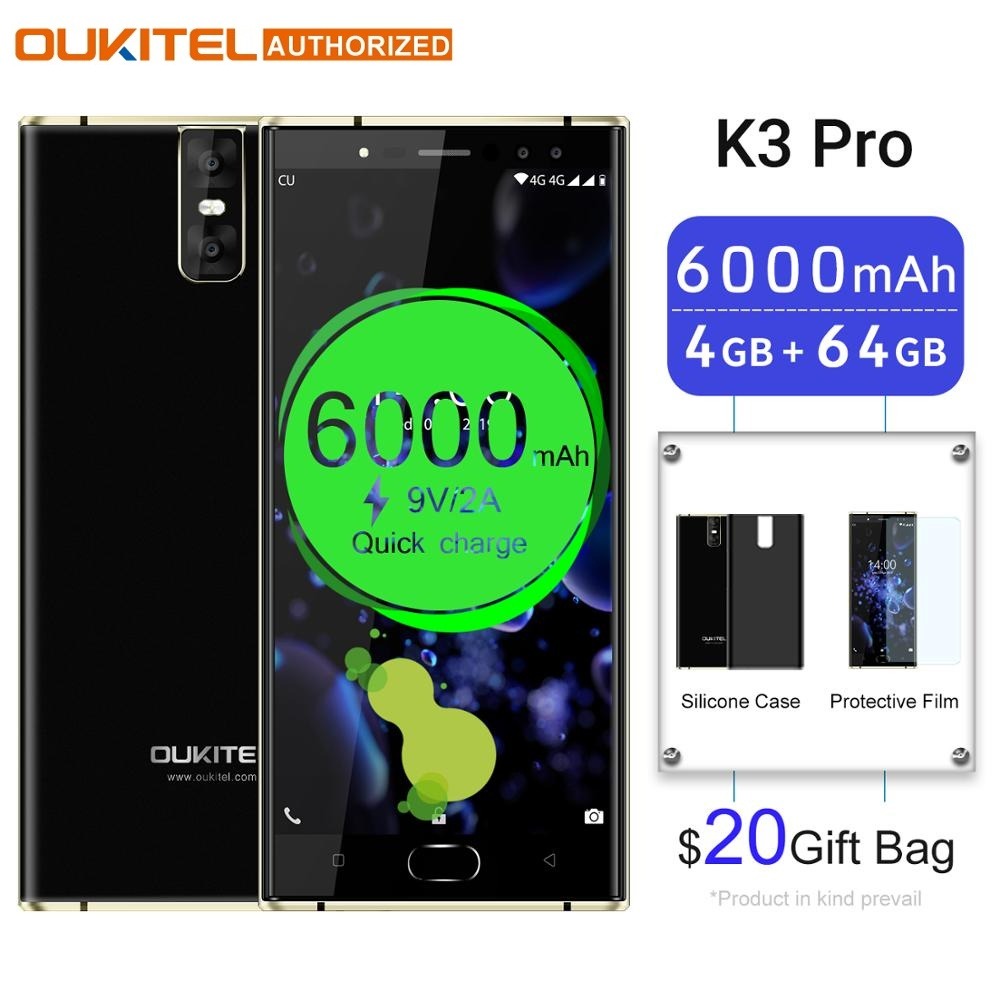 Oukitel K3 Pro Android Mobile Phone MT6763 Octa Core 4GB 64GB 5.5