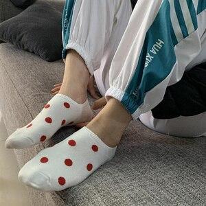 Image 4 - 5Pais/Lot Women Socks Short Cotton Aesthetic Novelty Dot Sweet Boat Socks Chaussette Femme Skarpety Kobieta Ankle Sock Woman