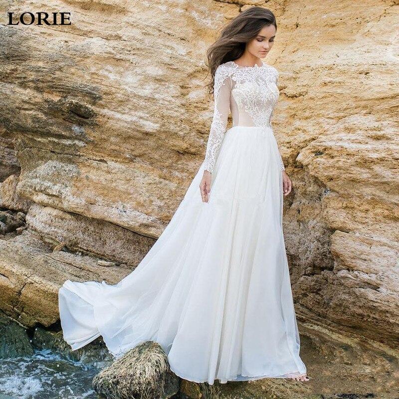 LORIE Boho A Line Wedding Dress Long Sleeve Robe De Mariee Vintage Lace Appliques Bridal Dress 2020 Chiffon Wedding Gowns