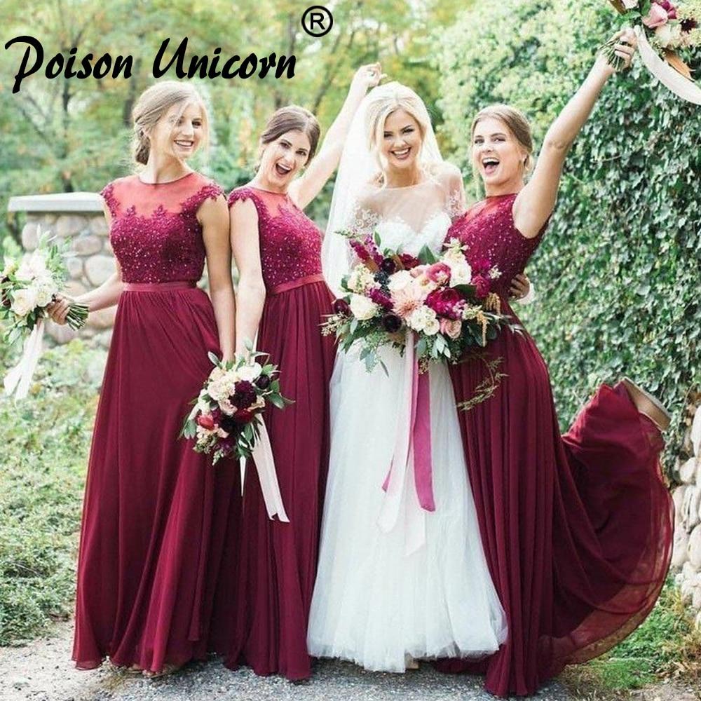 Robe De Soiree Burgundy Lace Applique Beading Long Chiffon Bridesmaid Dresses O-Neck Sleeveless Transparent Banquet Gowns