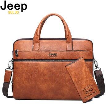 Maletín para hombre JEEP BULUO, bolso de negocios para ordenador portátil de 14 pulgadas, 2 uds, conjunto de bolsos de mano de alta calidad, bolsos de hombro para oficina de cuero