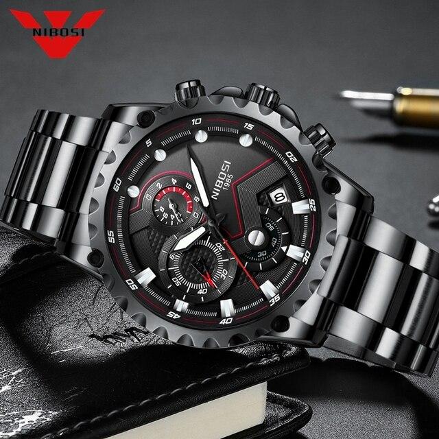 NIBOSI reloj deportivo para hombre, de pulsera, de cuarzo, resistente al agua, grande a la moda, de acero inoxidable, Masculino, 2021