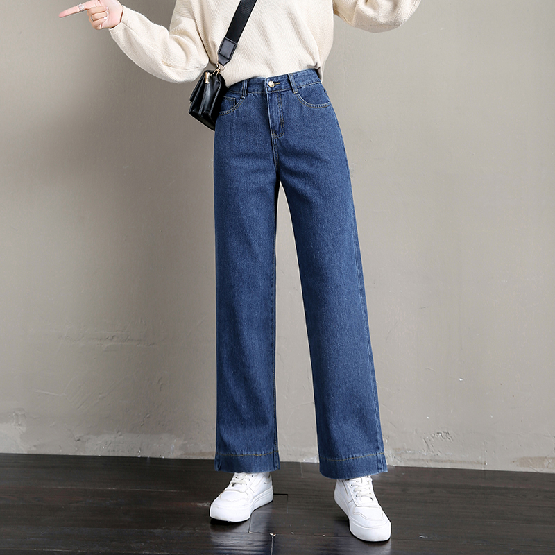 S-5XL Plus Size Boyfriend Style Women's Jeans Autumn Winter Korean Simple BF High Waist Jeans Loose Pockets Straight Jeans Femme