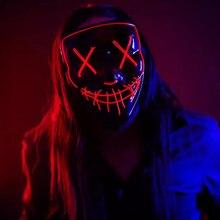 Светящаяся в темноте Горячая Хэллоуин неоновая маска светодиодный светильник маска продувка маска