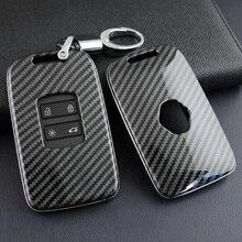 Carbon Fiber Hard Key Cover Fob Case Chain ABS plastic For Renault Kadjar 2016-2020 Megane 2016-2019 Koleos 2017-2019