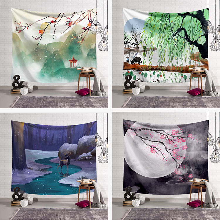 Chinese Style Tapestry Fabric Decor Season Tapestry Wall Hanging Blanket Beach Towel Large Mat Yoga 200x150cm Bedspread Carpet