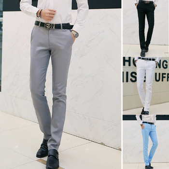 Business Men's Pants Gentle Man Trousers Fashion Male Straight Pants Solid Color Fit Smart Casual Pants