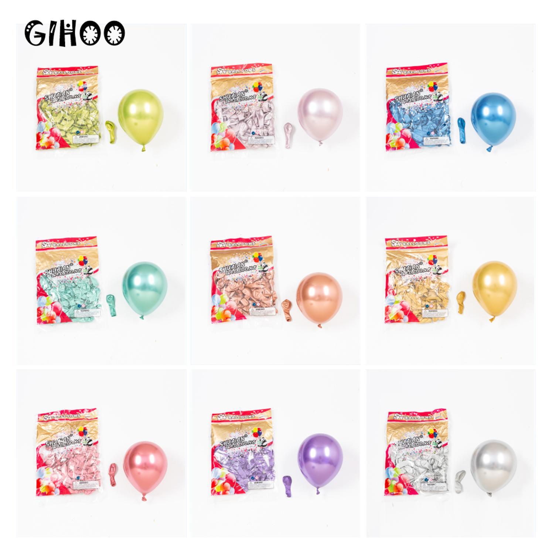 Новинка, металлический латексный шар GIHOO, 30/50 шт., 5 дюймов, цвета розового золота светильник-зеленый, фиолетовый, хромированный шар для украш...